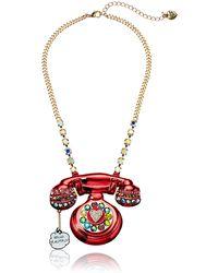 Betsey Johnson Telephone Pendant Necklace - Pink