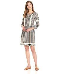 Ella Moon - Abbie 3/4 Sleeve Striped Jacquard Dropwaist Dress - Lyst