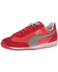 Lyst - Puma White and Red Nylon Whirlwind Classic Striped Sneakers ... 8cc8a9254