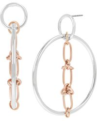 BCBGeneration Two-tone Link Detail Gypsy Hoop Earrings - Metallic
