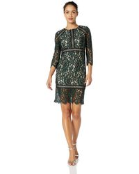 Vince Camuto Lace 3/4 Sleeve Bodycon Dress - Green