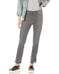 Vince Camuto High Rise Button Fly Jean - Gray