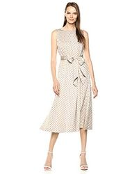 Anne Klein Midi Dress With Attached Sash - Natural