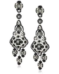 Miguel Ases - Jet And Sterling Silver Grand Eye Earrings - Lyst