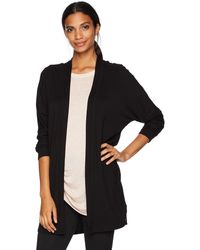 Marc New York Long Sleeve Open Cardigan With Raw Edges - Black