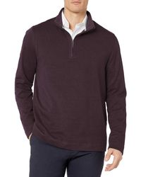 Geoffrey Beene Long Sleeve Stretch Twill 1/4 Zip Pullover - Purple