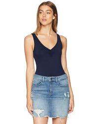 Three Dots Refined Jersey Short Tight Bodysuit - Blue