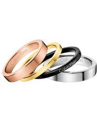 Calvin Klein Gorgeous Tri-color Ring Set - Metallic