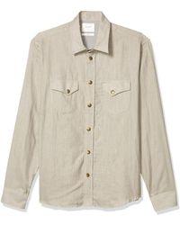 Billy Reid Standard Fit Brass Snap Front Work Shirt - Natural