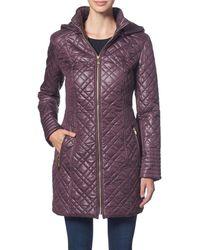 Via Spiga Center Zip Diamond Quilt Coat With Hood - Multicolor