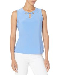 Tommy Hilfiger Gromet Sleeveless Knit Top - Blue