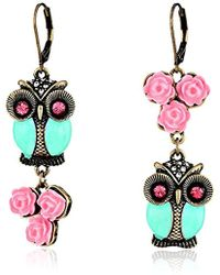 Betsey Johnson - Pet Shop Vintage Owl Non-matching Earrings Blue/pink Drop Earrings - Lyst
