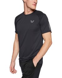 Peak Velocity Channel-knit Performance Short Sleeve Quick-dry Athletic-fit Run - Black