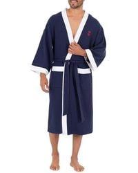 Izod Waffle Knit Kimono Robe - Blue