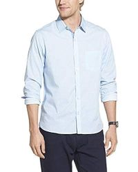 Geoffrey Beene Slim Fit Easy Care Long Sleeve Button Down Shirt - Blue