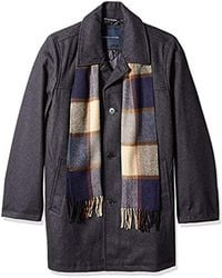 Tommy Hilfiger Size Tall Wool Melton Walking Coat With Detachable Scarf