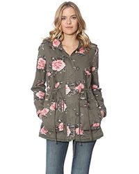 Members Only - Olive Floral Print Anorak - Lyst