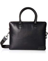 Calvin Klein Debossed Logo Attache - Black