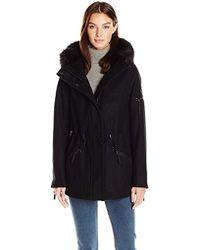 Calvin Klein - Anorak Wool Faux Fur Trimmed Coat - Lyst