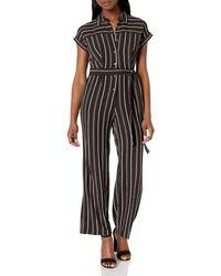 Calvin Klein Short Sleeve Button Front Jumpsuit With Self Belt - Black