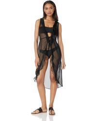 Kenneth Cole Reaction Front Tie Beach Cover Up - Black