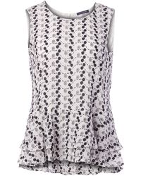 Tommy Hilfiger Embroidered Peplum Sleeveless Top - White
