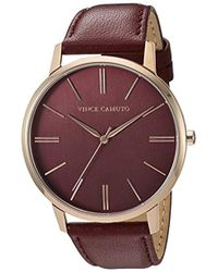 Vince Camuto - Vc/5322rgby Burgundy Leather Strap Watch - Lyst