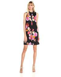 Calvin Klein Sleeveless Shirt Collar Button Front Crepe Trapeze Dress - Black