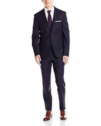 DKNY Slim Fit Wool Suit, Dark Navy, 38 Short - Blue