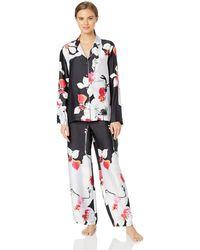 Natori Cattleya Floral Print Satin Pajama Set - Black