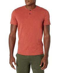 Peak Velocity Pima Cotton Modal Short Sleeve Henley - Red