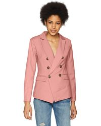 C/meo Collective Double Breasted Blazer With Front Pockets And Button Detail - Pink