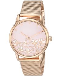 Nine West Rose Gold-tone Mesh Bracelet Watch, Nw/2428flrg - Metallic