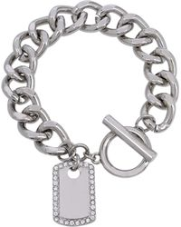 Jessica Simpson Dog Tag Charm Bracelet - Metallic