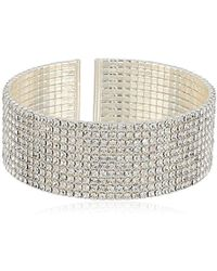 Anne Klein - Classics Silver Ton Crystal Cuff Bracelet, One Size - Lyst