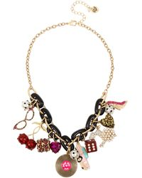 Betsey Johnson Retro Charm Frontal Statement Necklace - Multicolor