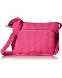 Vera Bradley Microfiber Little Hipster Crossbody Purse With Rfid Protection - Pink