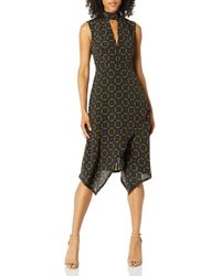 Tracy Reese Kerchief Dress In Foulard Placement - Black