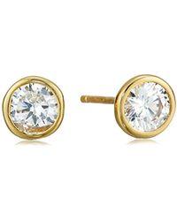 Amazon Essentials - Plated Sterling Silver Aaa Cubic Zirconia Bezel Stud Earrings - Lyst