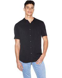 American Apparel Mens Thick-knit Short Sleeve Baseball T-shirt Men's Short Sleeved Shirt In Black