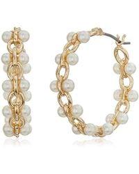Anne Klein - Gold Tone Pearl Hoop Earrings - Lyst