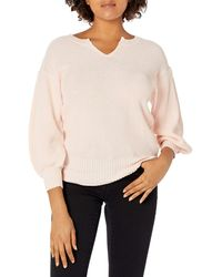 Ella Moss Tina Drop Shoulder Puff Sleeve Sweater - Pink