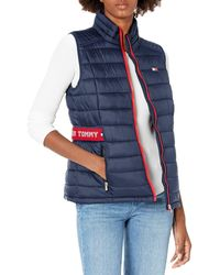 Tommy Hilfiger Quilted Vest With Tommy Logo Elastic Cinch Waist - Blue