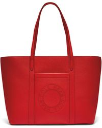 Cole Haan Leather Zip Top Tote - Red