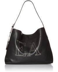 Emporio Armani Designer Leather Hobo Bag Embellished With Ea Logo - Black
