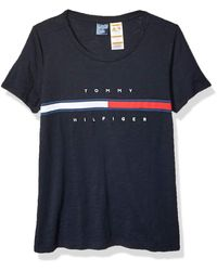 Tommy Hilfiger Adaptive T Shirt With Magnetic Buttons Signature Stripe Tee - Blue