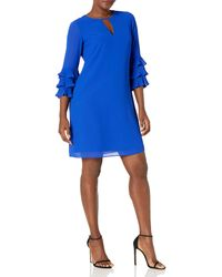 Vince Camuto Chiffon Float With Pleated Sleeve - Blue