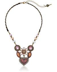 Betsey Johnson Vintage Heart 6-piece Cluster Frontal Necklace Pink Multi Pendant Necklace - Multicolor