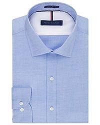 Tommy Hilfiger Mens Non Iron Slim Fit Solid Spread Collar Dress Shirt Ballard Blue