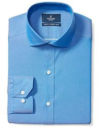 Buttoned Down Amazon Brand - Tailored Fit Cutaway-collar Solid Pinpoint Dress Shirt, Supima Cotton Non-iron - Blue